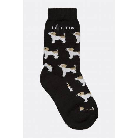 Lettia Paddock Bamboo Sock - Black with Jack Russell