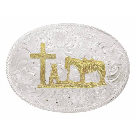 Montana Silversmiths Two Tone Classic Christian Cowboy Etched Trim Belt Buckle