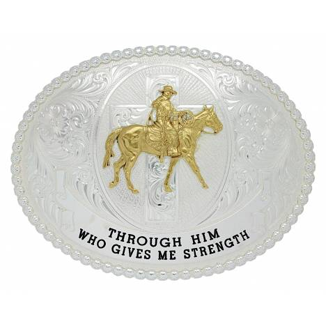 Montana Silversmiths Riding With Strength Western Belt Buckle
