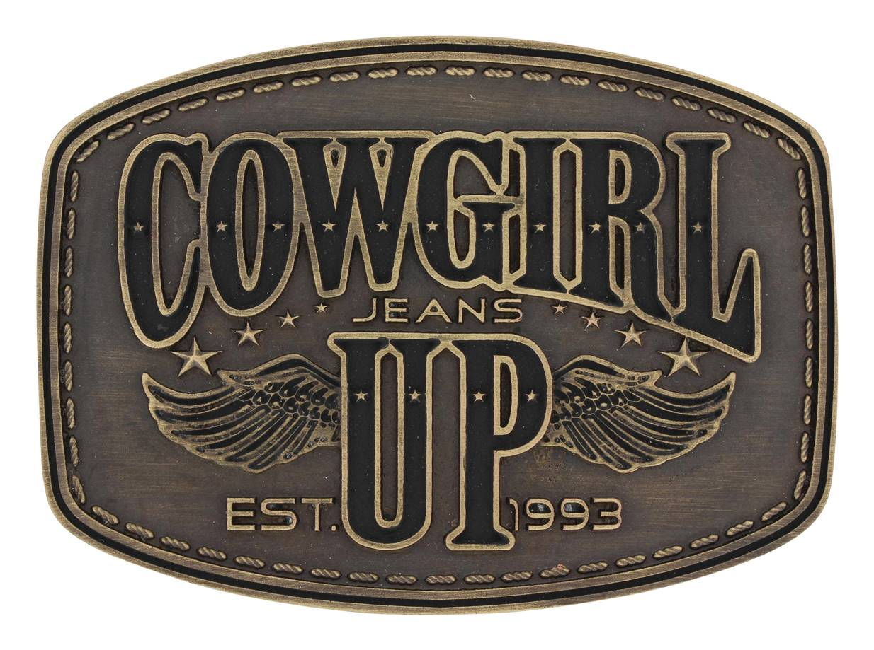 Montana Silversmiths Heritage Cowgirl Up Wings Attitude Buckle