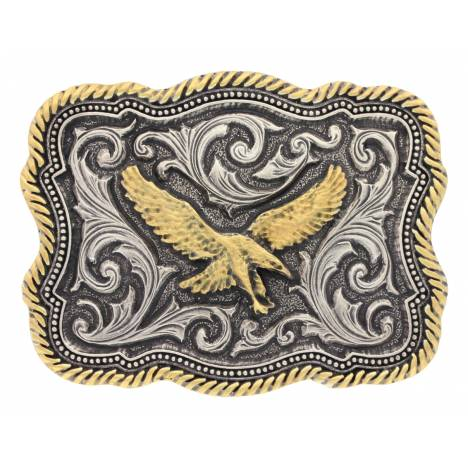 Montana Silversmiths Classic Two Tone Twist Rope Pinpoints Eagle Attitude Buckle