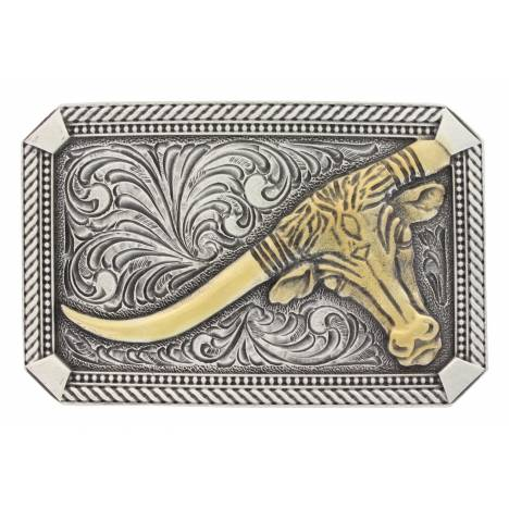 Montana Silversmiths Classic Two Tone Twist Rope Pinpoint Steer Attitude Buckle