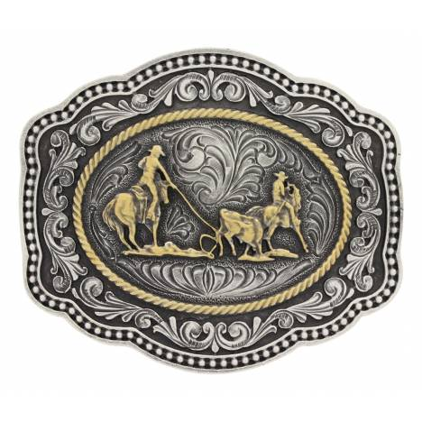 Montana Silversmiths Classic Twotone Twist Rope Cameo Team Roper Attitude Buckle