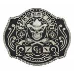 Montana Silversmiths Cowboy Up Skull & Crossed Pistols Card Attitude Buckle
