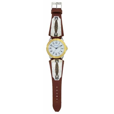 Montana Silversmiths Two Tone River Pebbles Leather Band Watch