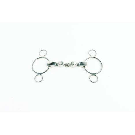 Metalab Stainless Steel Continental 3 Ring Gag Bit with Solid Twisted Mouthpiece