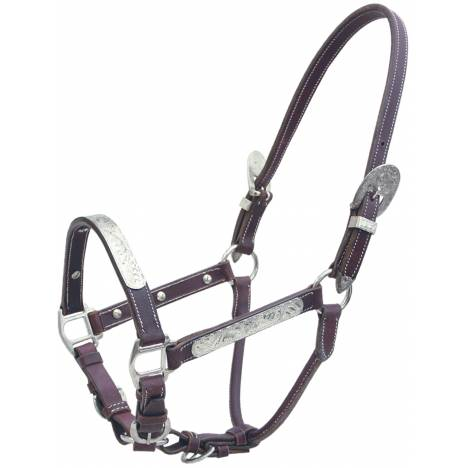 Action Fancy Silver Leather Show Halter And Lead