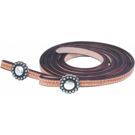 Simco Hamley Tooled Reins with Round Dot Conchos