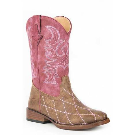 Roper Kids Cross Cut Wide Square Toe Cowgirl Boots