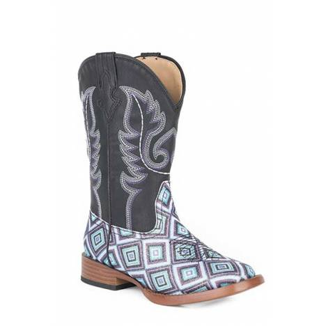 Roper Kids Glitter Diamonds Bling Wide Square Toe Cowgirl Boots