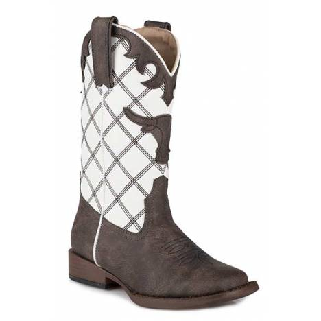 Roper Kids Steerhead Square Toe Fashion Cowboy Boots
