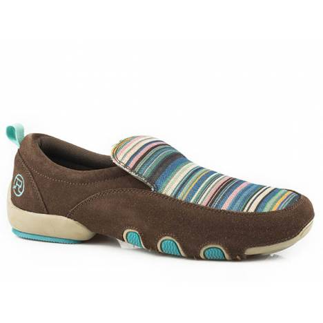 Roper Ladies Bailey Stripe Fabric And Leather Driving Mocs - Brown