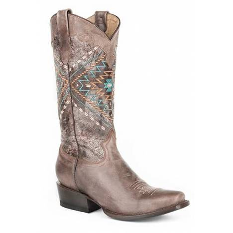 Roper Ladies Native Medium Square Toe Fashion Cowgirl Boots