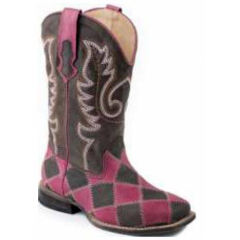 Roper Ladies Patches Square Toe Leather Cowgirl Boots