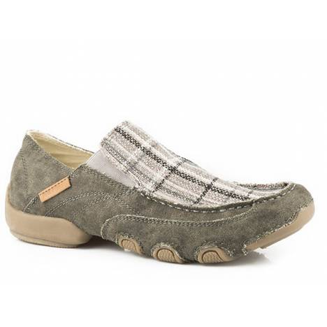 Roper Mens Dougie Cruiser Driving Mocs - Grey Plaid