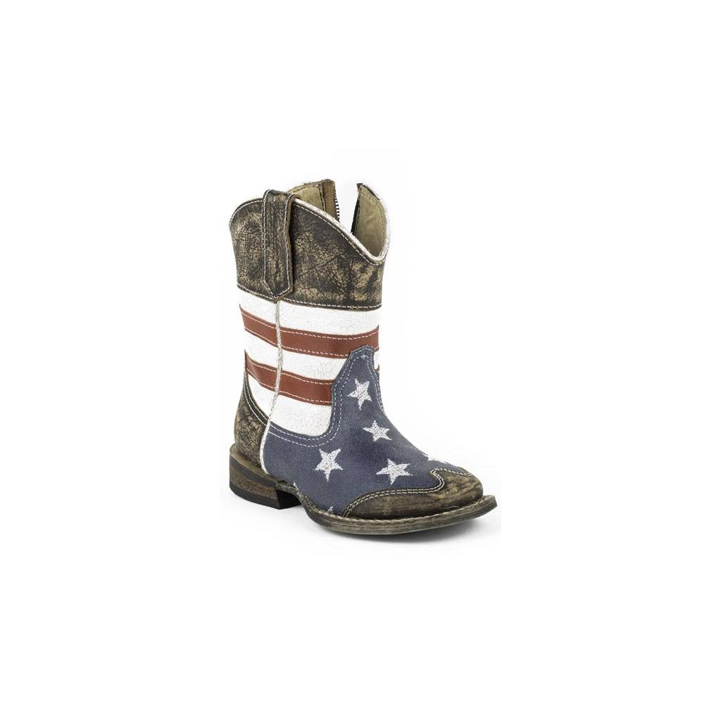 2165c3d4ef8 Roper Toddler American Flag Square Toe Leather Cowboy Boots