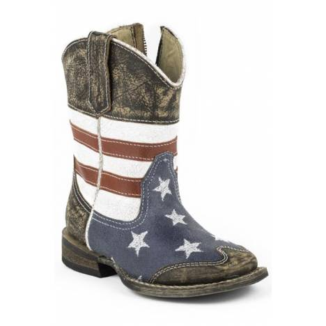 Roper Toddler American Flag Square Toe Leather Cowboy Boots