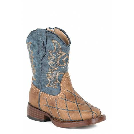 Roper Toddler Cross Cut Wide Square Toe Cowboy Boots