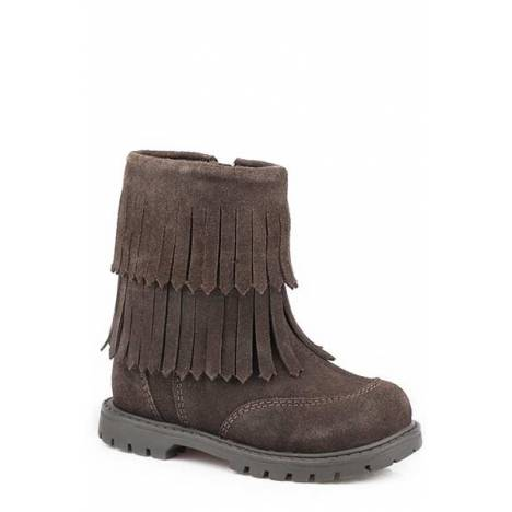 Roper Toddler Girls Fringe Leather Fashion Boot - Brown