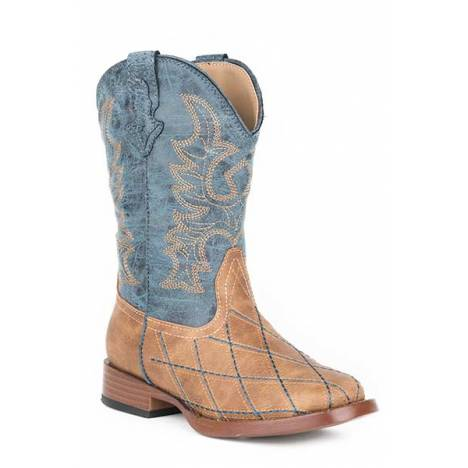 Roper Youth Cross Cut Wide Square Toe Cowboy Boots
