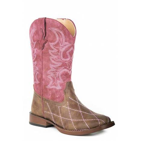 Roper Youth Girls Cross Cut Wide Square Toe Cowgirl Boots