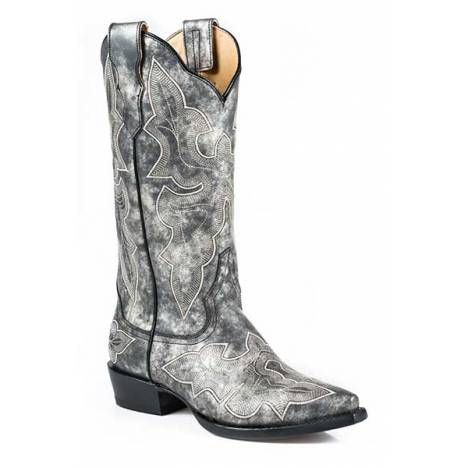 Stetson Ladies Jess Embroidered Fashion Snip Toe Cowgirl Boots - Grey