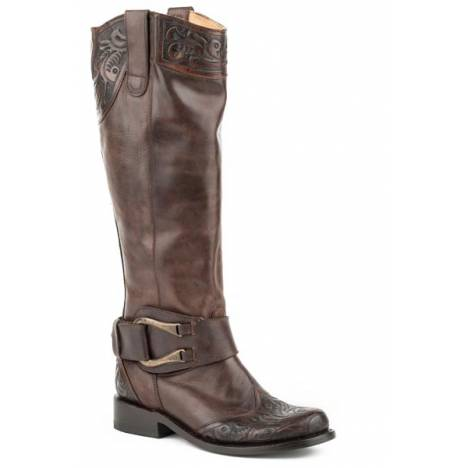 Stetson Ladies Paisley Round Toe Tall Fashion Boots - Brown