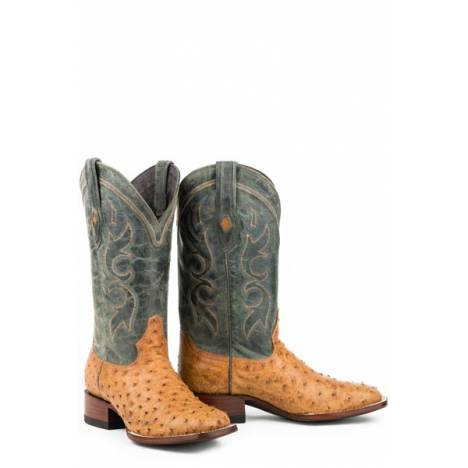 Stetson Mens Cheyenne Full Ostrich Square Toe Cowboy Boots