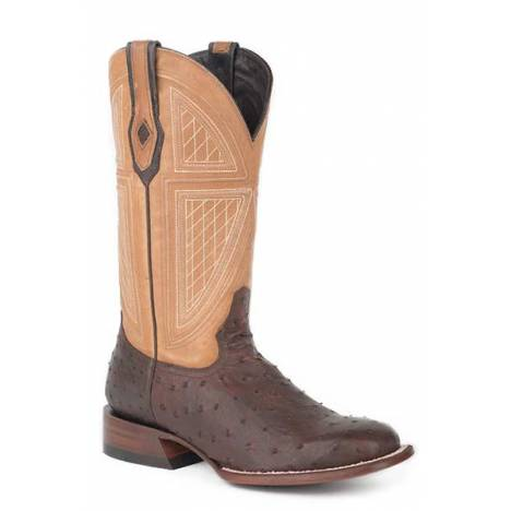 Stetson Mens Red Lodge Full Ostrich Square Toe Cowboy Boots