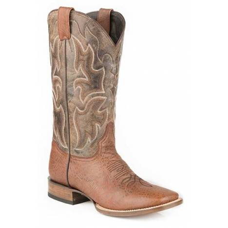 Stetson Mens Red Rock Wide Square Toe Cowboy Boots