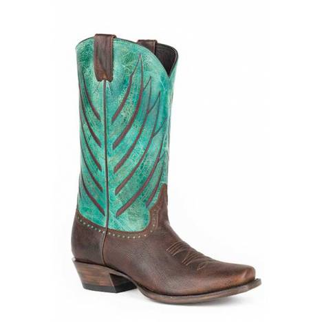 Stetson Mens Wing Tips Medium Square Toe Cowboy Boots - Brown/Turquoise