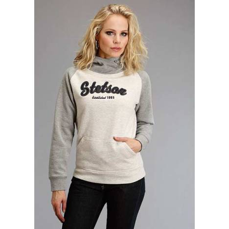 Stetson Ladies Applique Two Tone Hooded Sweatshirt