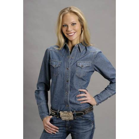 Stetson Ladies Denim Stetson Denim Double Needle Great Fitting Shirt