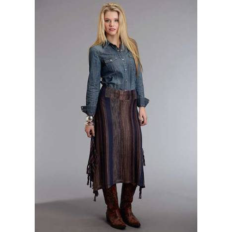 Stetson Ladies Fall III Blue Tone Stripe Long Sweater Skirt