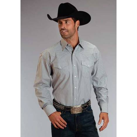 Stetson Mens Candy Stripe Long Sleeve Snap Shirt - Grey