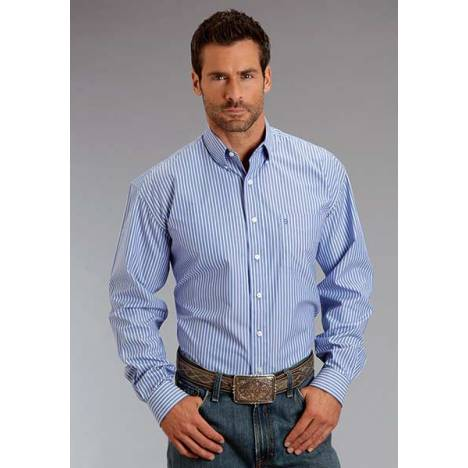 Stetson Mens Candy Stripe Pocket Long Sleeve Button Shirt - Periwinkle