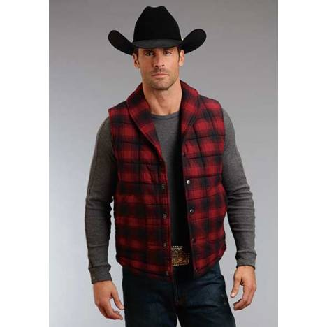 Stetson Mens Check Mate Plaid Brushed Twill Vest