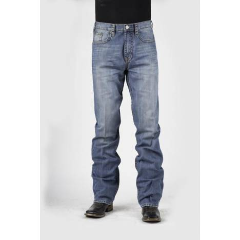 Stetson Mens Medium Wash With Back Knee Tacking Mid Rise Jeans