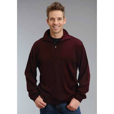 Stetson Mens Original Rugged Wool Sweater Knit Pullover - Wine