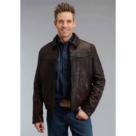Stetson Mens Smooth Lamb Leather Jacket - Brown