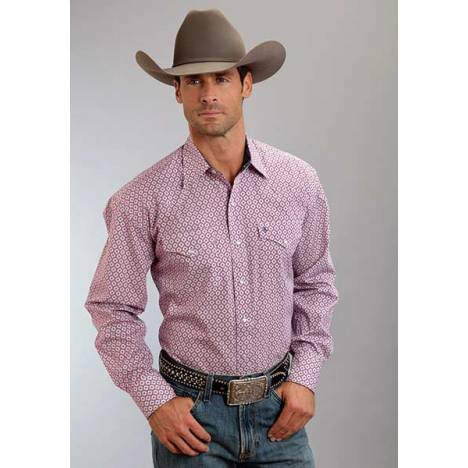 Stetson Mens Spring IV Crown Geo Long Sleeve Snap Shirt