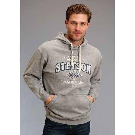 Stetson Mens Stetson 1865 Applique Hooded Sweatshirt - White/Blue/Grey