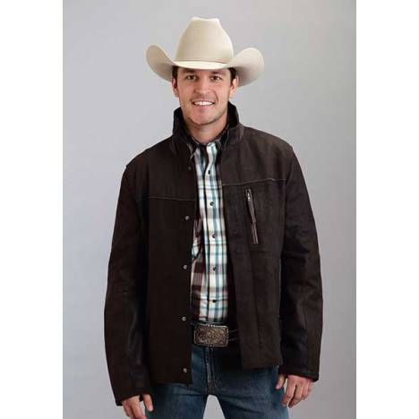 Stetson Mens Sueded Smooth Leather Trim Jacket