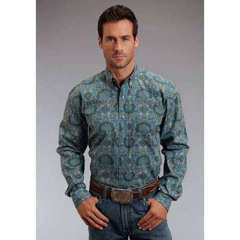 Stetson Mens Summer III French Paisley Long Sleeve Button Shirt