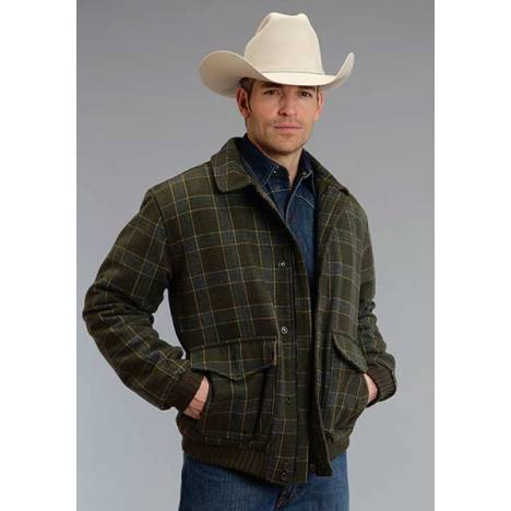Stetson Mens Wool Blend Plaid Jacket - Olive