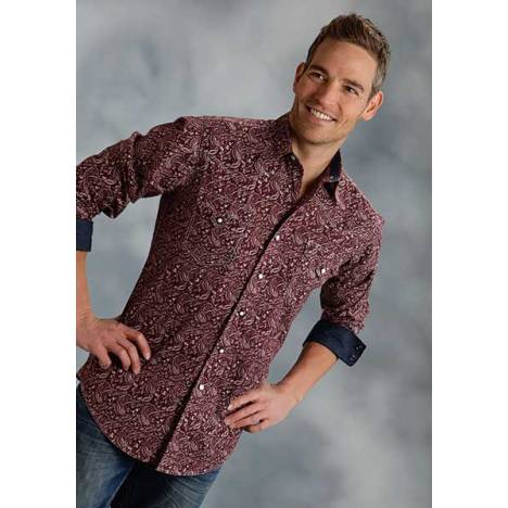 Roper Performance Fall Iii Mens Red Hot Paisley Long Sleeve Square Snap Shirt