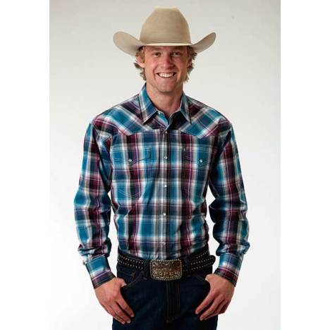 Roper Mens Amarillo Blueberry Ombre Plaid Western Long Sleeve Snap Shirt