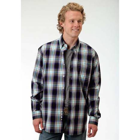 Roper Mens Amarillo Hawthorn Plaid Open Pocket Long Sleeve Button Shirt