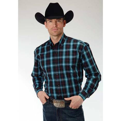 Roper Mens Amarillo Onyx Check Plaid Open Pocket Long Sleeve Button Shirt