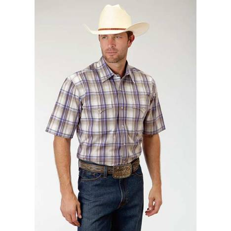 Roper Mens Amarillo Purple Sage Plaid Curved Yoke Short Sleeve Snap Shirt